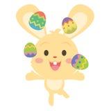 Conejito amarillo que hace juegos malabares el huevo de Pascua libre illustration