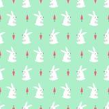 Conejito blanco con el fondo inconsútil del verde menta del modelo de la zanahoria Imágenes de archivo libres de regalías