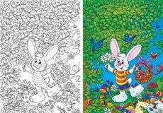 Conejito blanco con la cesta de Pascua libre illustration