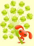 Conejito bonito con el trébol. stock de ilustración