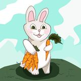 Conejito con la zanahoria Fotos de archivo