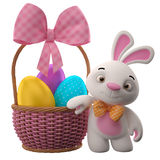 conejito de 3D pascua, feliz conejo de la historieta, carácter animal con los huevos de Pascua en cesta de mimbre Imágenes de archivo libres de regalías