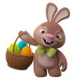 conejito de 3D pascua, feliz conejo de la historieta, carácter animal con los huevos de Pascua en cesta de mimbre Fotografía de archivo libre de regalías