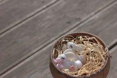 Conejito de dos pascua en una cesta Fotografía de archivo libre de regalías