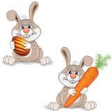 Conejito de la historieta con la zanahoria grande y el huevo pintado ilustración del vector