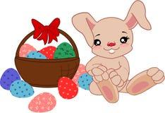 Conejito de la historieta con los huevos stock de ilustración