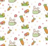 Conejito de la primavera y modelo del kawaii de la zanahoria libre illustration