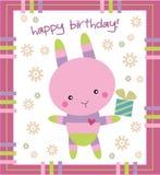 Conejito de la tarjeta de cumpleaños Imágenes de archivo libres de regalías
