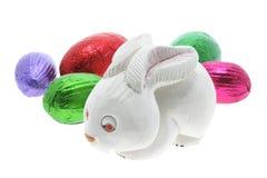 Conejito de pascua con los huevos de Pascua Fotos de archivo libres de regalías