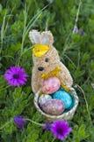 Conejito de pascua con los huevos de Pascua Foto de archivo libre de regalías