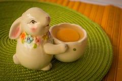Conejito de pascua con una cesta con los huevos Fotografía de archivo