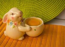 Conejito de pascua con una cesta con los huevos Fotos de archivo libres de regalías