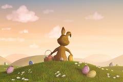Conejito de pascua con una cesta y los huevos de Pascua Imágenes de archivo libres de regalías
