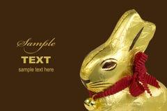 Conejito de pascua de oro del chocolate fotos de archivo