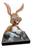 Conejito de pascua DJ en las cubiertas Foto de archivo libre de regalías