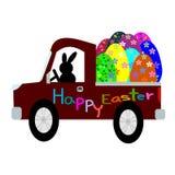 Conejito de pascua en coche y los huevos de Pascua Fotos de archivo