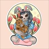 Conejito de pascua en los brazos de un gato en un fondo de tulipanes libre illustration
