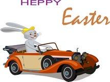 Conejito de pascua en su coche rojo de Pascua stock de ilustración