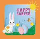 Conejito de pascua hermoso y lindo que oculta o que busca los huevos Texto Pascua feliz ilustración del vector