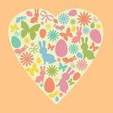 Conejito de pascua, huevo, flores y siluetas de la mariposa formadas como corazón Siluetas lindas de Pascua del vector en colores libre illustration