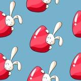 Conejito de pascua lindo con el modelo inconsútil de los huevos Conejo del garabato con el huevo de Pascua en fondo azul Fondo de ilustración del vector