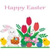 Conejito de pascua lindo con la cesta de huevos pintados, de pollos amarillos y de flores de la primavera en el fondo blanco ilustración del vector