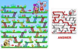 Conejito de pascua que busca para los huevos de Pascua (cuadrado) ilustración del vector