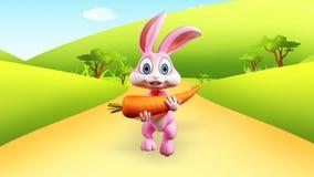 Conejito de pascua que corre con la zanahoria grande