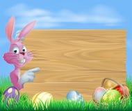 Conejito de pascua rosado de la muestra de los huevos de chocolate libre illustration