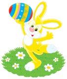 Conejito de pascua y huevo pintado stock de ilustración