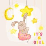 Conejito del bebé con las estrellas y la luna - fiesta de bienvenida al bebé o tarjeta de llegada - i Foto de archivo libre de regalías