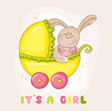Conejito del bebé en carro - para la fiesta de bienvenida al bebé Imagenes de archivo