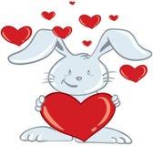 Conejito del día de tarjeta del día de San Valentín Imagen de archivo