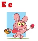 Conejito divertido de Alfabeto-Pascua de las historietas con las cartas Imagen de archivo libre de regalías