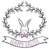 Conejito elegante blanco en la tarjeta de pascua del día de fiesta de la primavera de la guirnalda del sauce con deseos