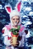 Conejito en el bosque de la nieve del invierno Imagen de archivo libre de regalías