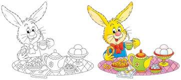 Conejito en el desayuno ilustración del vector