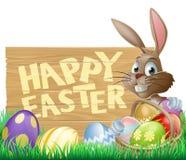 Conejito feliz de la muestra de Pascua ilustración del vector