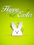 Conejito feliz del conejo de Pascua en fondo verde ilustración del vector