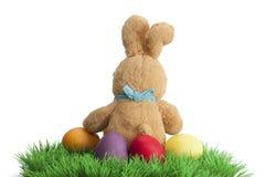 Conejito hecho a mano de Pascua con los huevos en cesta Imagen de archivo libre de regalías