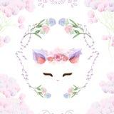 Conejito inconsútil del vintage del modelo en floral libre illustration