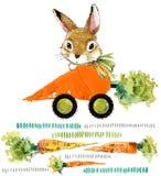 Conejito lindo Conejo salvaje ejemplo de la zanahoria de la acuarela stock de ilustración