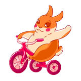 Conejito lindo de la historieta en una bici que agita su mano en el saludo Ilustración del vector aislada en el fondo blanco Foto de archivo libre de regalías