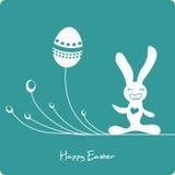 Conejito lindo de Pascua con los huevos Fotos de archivo