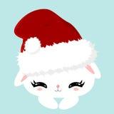 Conejito lindo mullido blanco de la Navidad El carácter de los niños Cartel del Año Nuevo Animal doméstico en un sombrero de Sant Foto de archivo