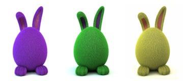 Conejito peludo verde del huevo Fotografía de archivo libre de regalías