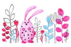 Conejito rosado, conejo Frontera Dibujo en acuarela y estilo gr?fico para el dise?o de impresiones, fondos, tarjetas, boda ilustración del vector