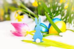 Conejito, tulipán y huevos azules de pascua en la nieve Imágenes de archivo libres de regalías