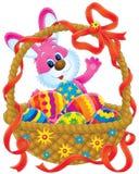 Conejito y cesta de pascua Foto de archivo libre de regalías
