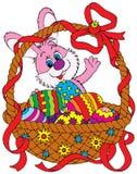 Conejito y cesta de pascua Imagen de archivo